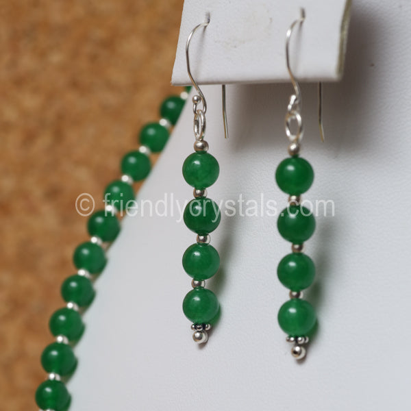 "Aventurine 92.5 SS Beaded 18"" Necklace & Earring Set"