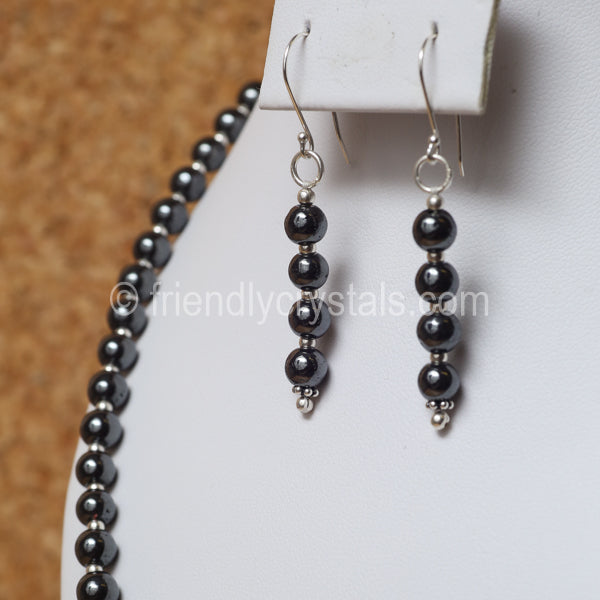 "Hematite 92.5 SS Beaded 18"" Necklace & Earring Set"