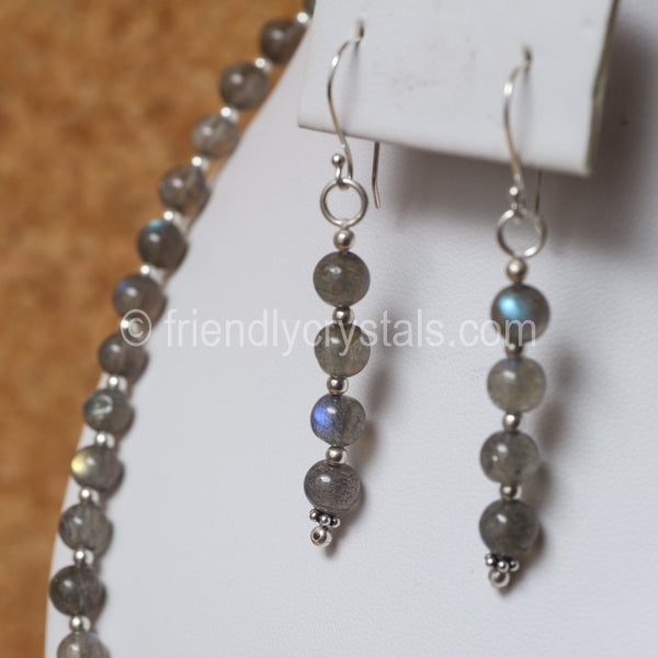 "Labradorite 92.5 SS Beaded 18"" Necklace & Earring Set"