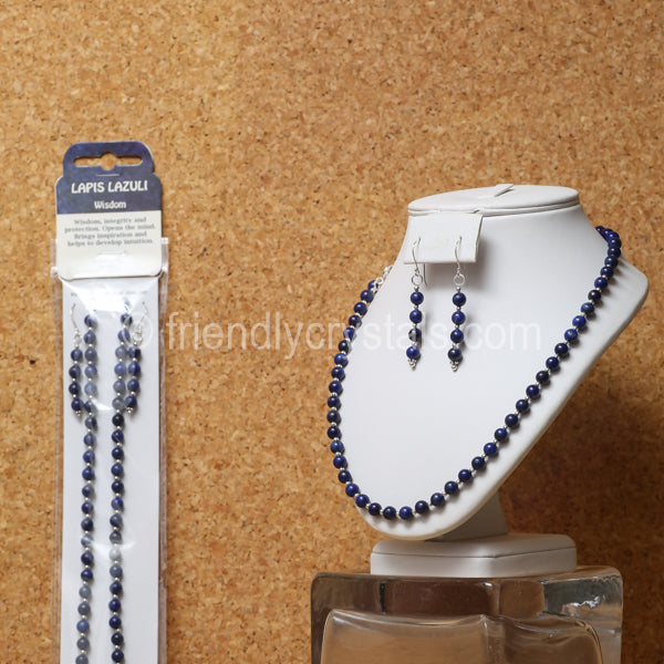 "Lapis 92.5 SS Beaded 18"" Necklace & Earring Set"