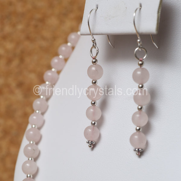 "Rose Quartz 92.5 SS Beaded 18"" Necklace & Earring Set"