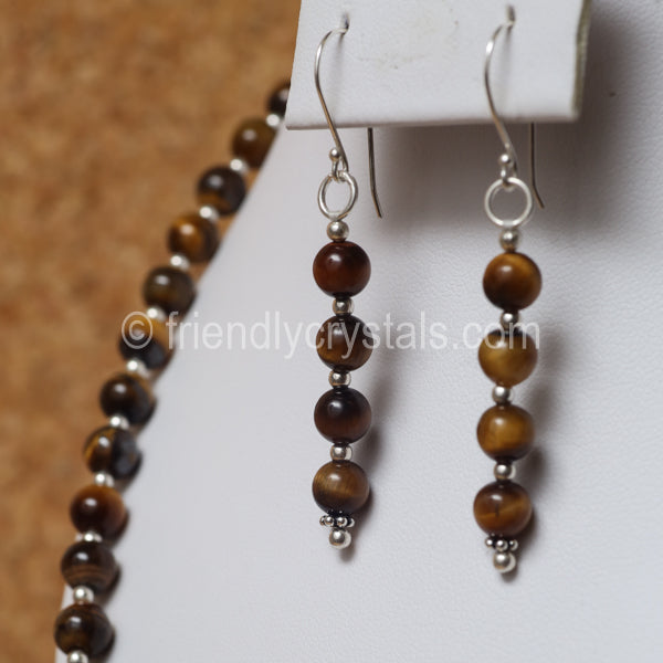 "Tiger Eye 92.5 SS Beaded 18"" Necklace & Earring Set"