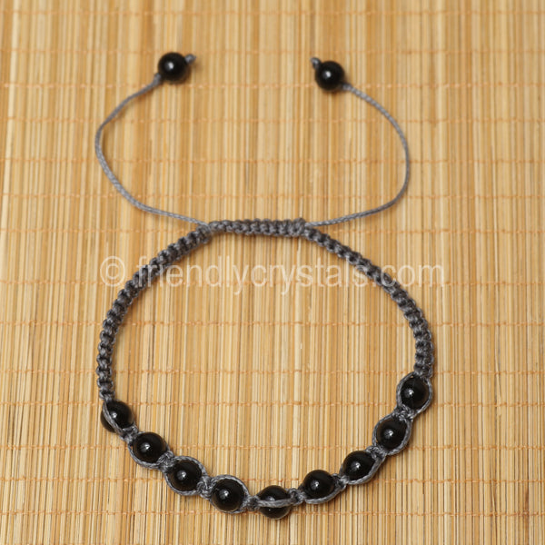 Black Agate Shamballa Bracelet - Grey cord (6mm)