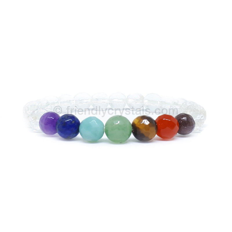 Chakra with Quartz Faceted Power Bracelet (8mm)