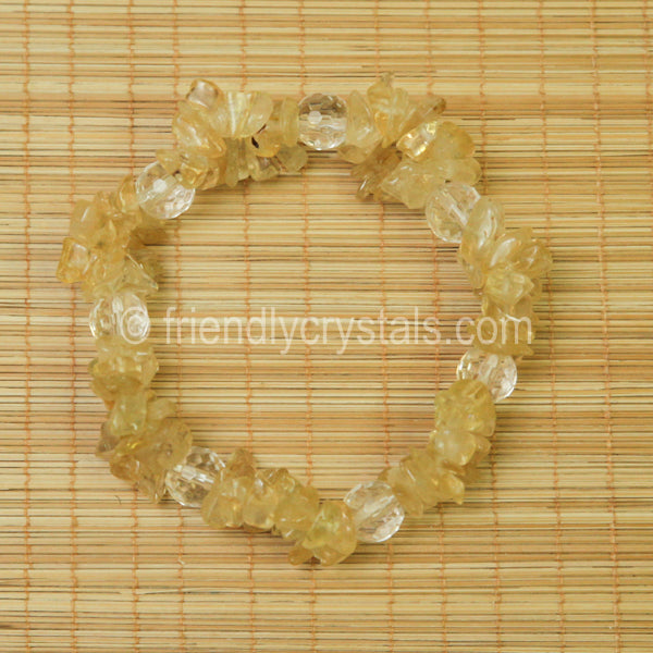Citrine Chip Stretch Bracelet with Quartz bead