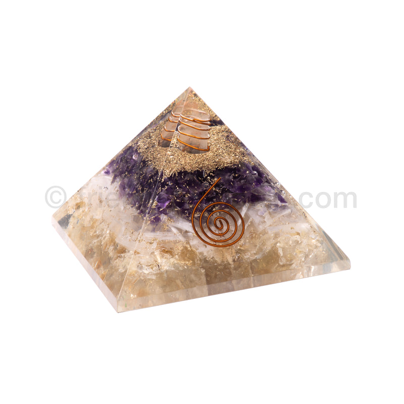 Citrine/Selenite/Amethyst/Quartz Point Pyramid 90 mm