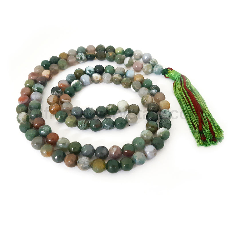 Fancy Agate Mala Faceted