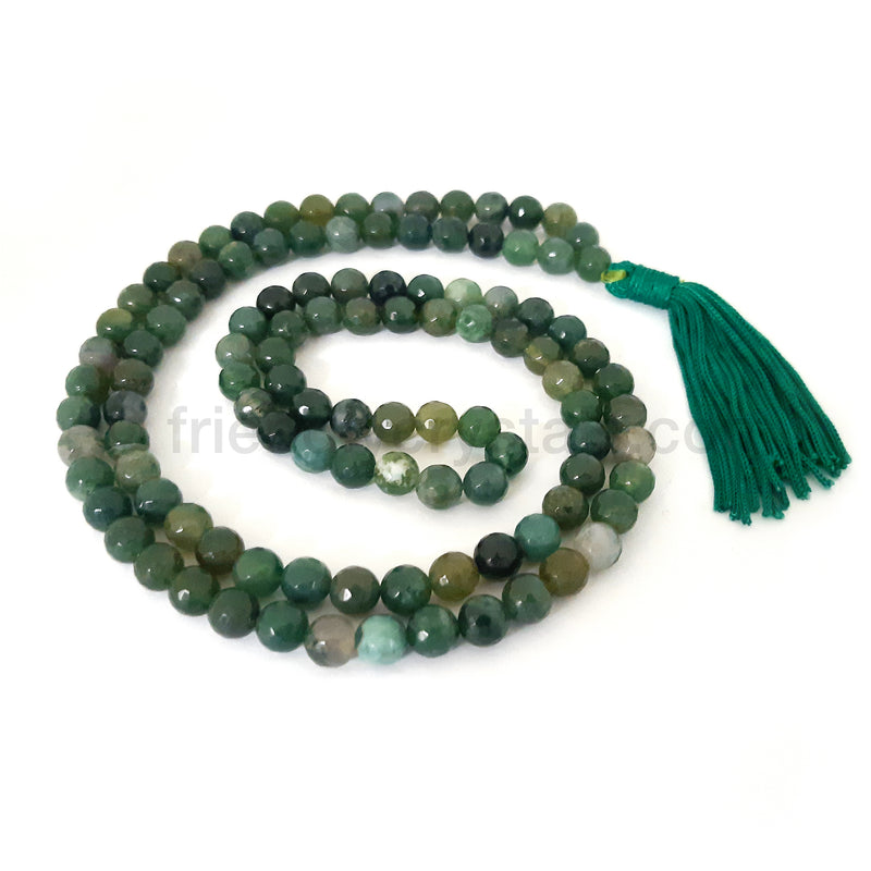 Moss Agate Mala Faceted