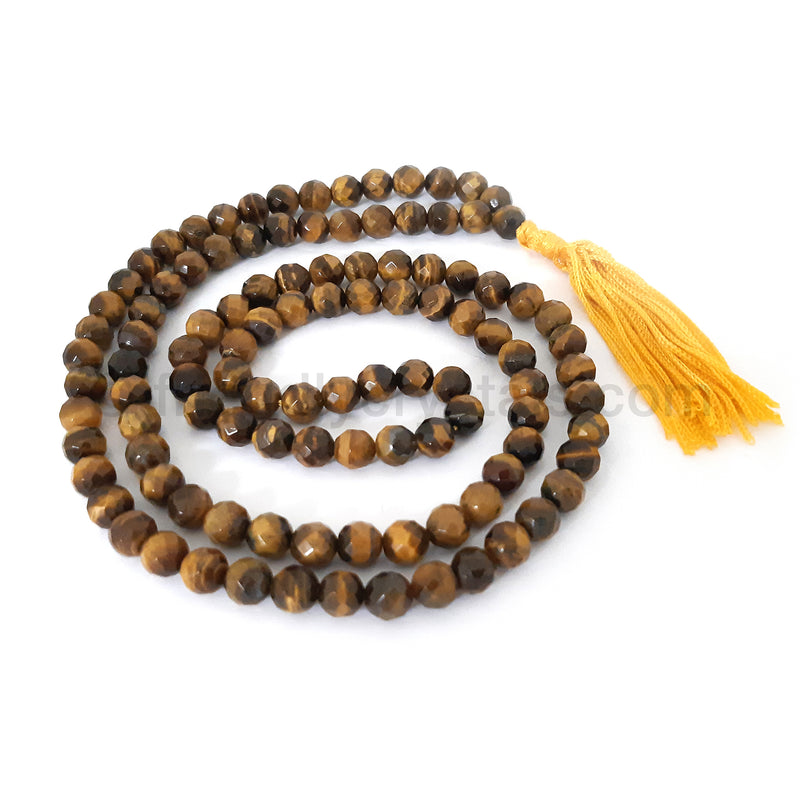 Tiger Eye Mala Faceted
