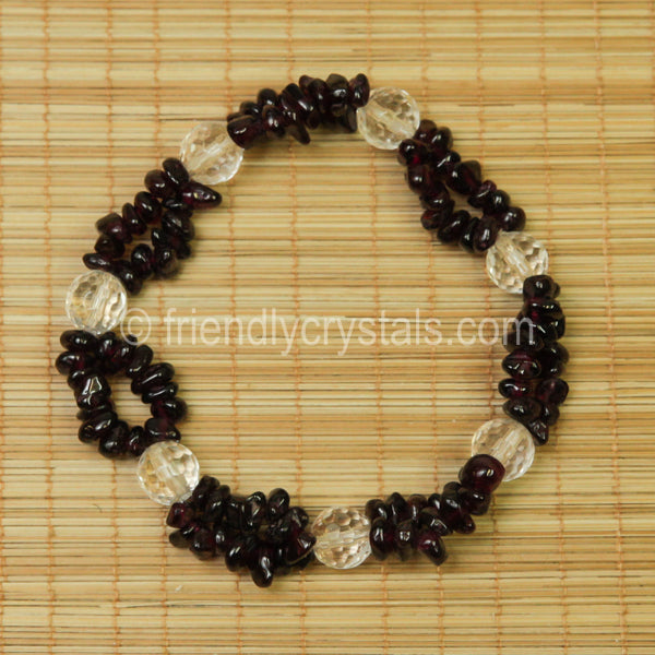 Garnet Chip Stretch Bracelet with Quartz bead