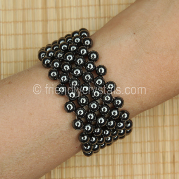 Hematite Beaded Bracelet Broad