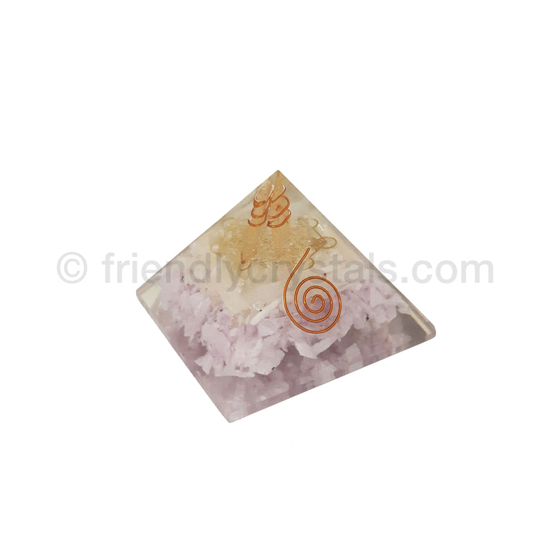 Kunzite with Selenite Sticks- Metatron Pyramid 75-80 mm - NEW