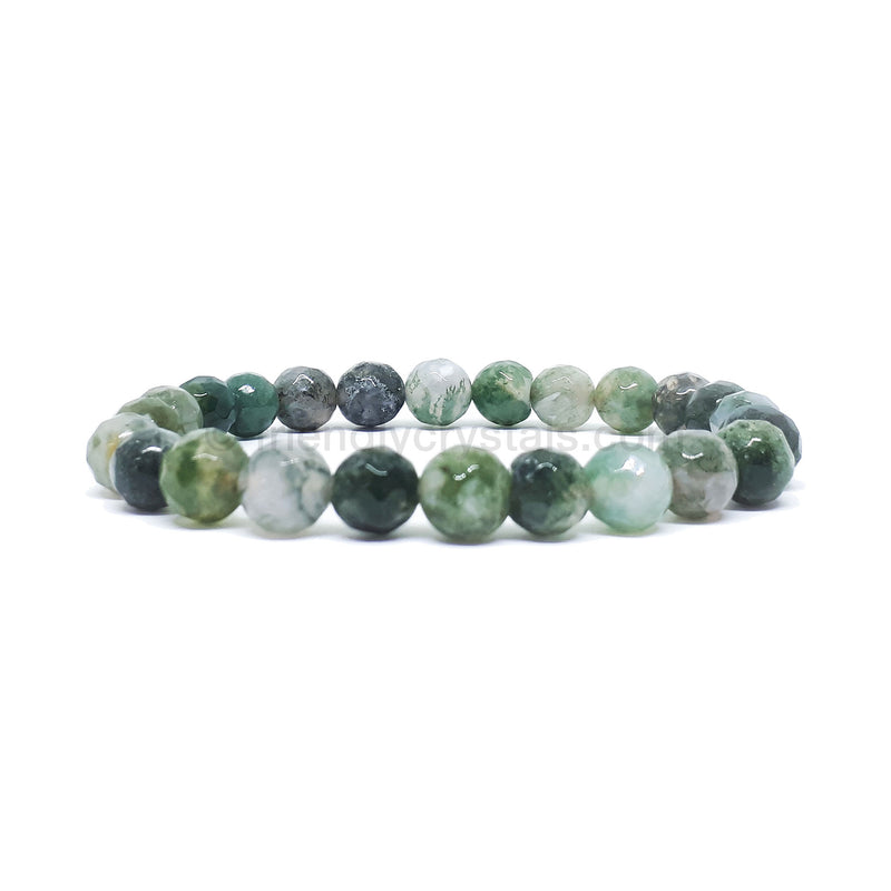 Moss Agate Faceted Power Bracelet (8mm)