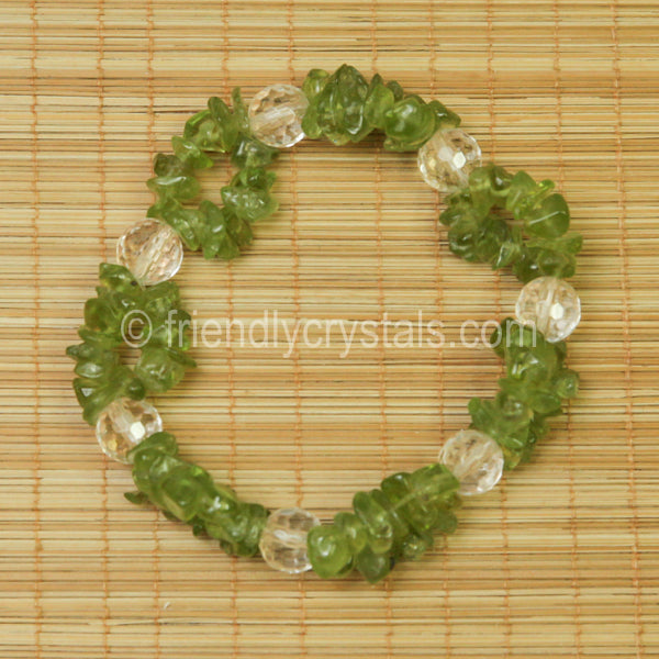 Peridot Chip Stretch Bracelet with Quartz bead