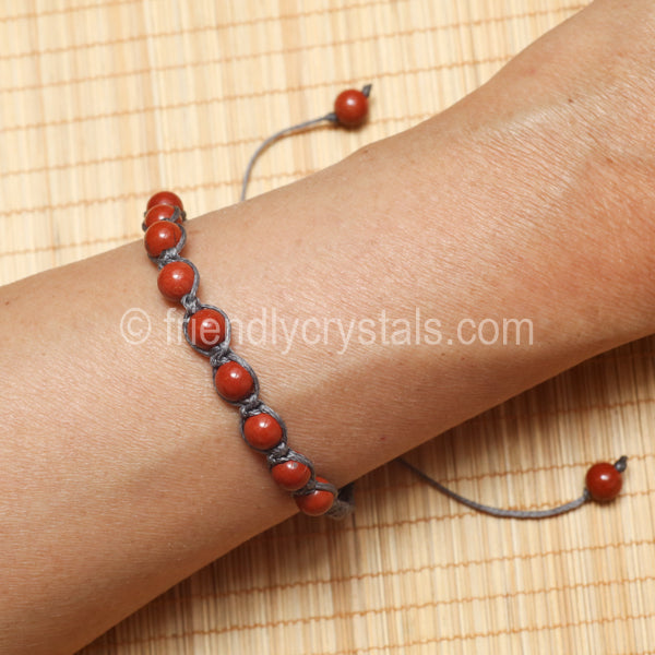 Red Jasper Shamballa Bracelet - Grey cord (6mm)