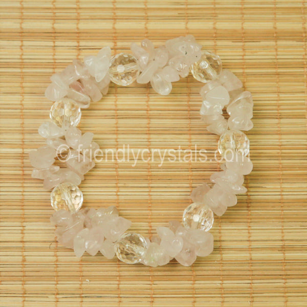 Rose Quartz Chip Stretch Bracelet with Quartz bead