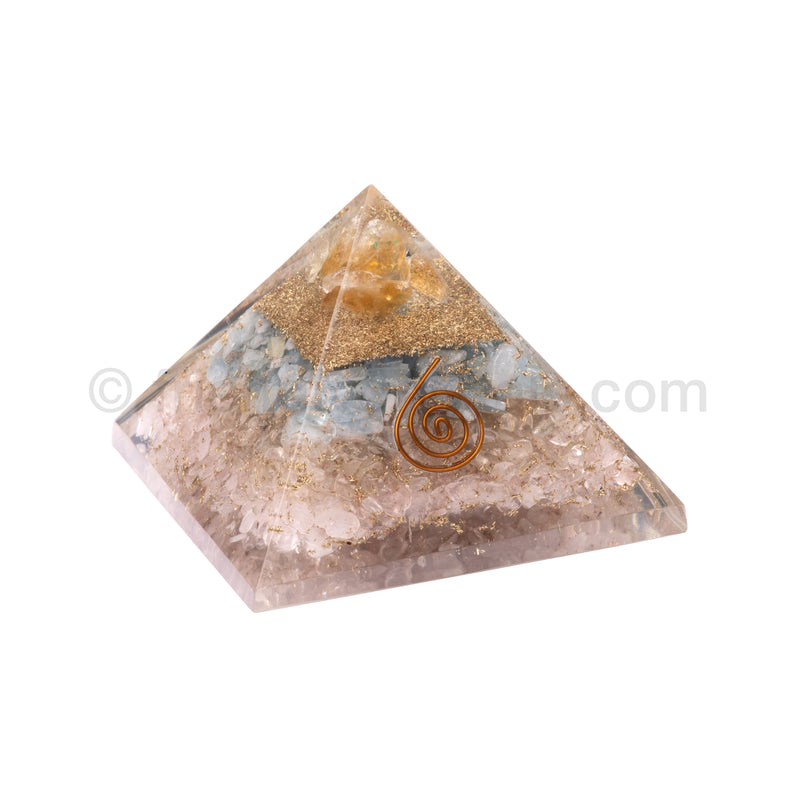 Rose Quartz/Quartz/Aquamarine/Citrine Point Pyramid 90 mm
