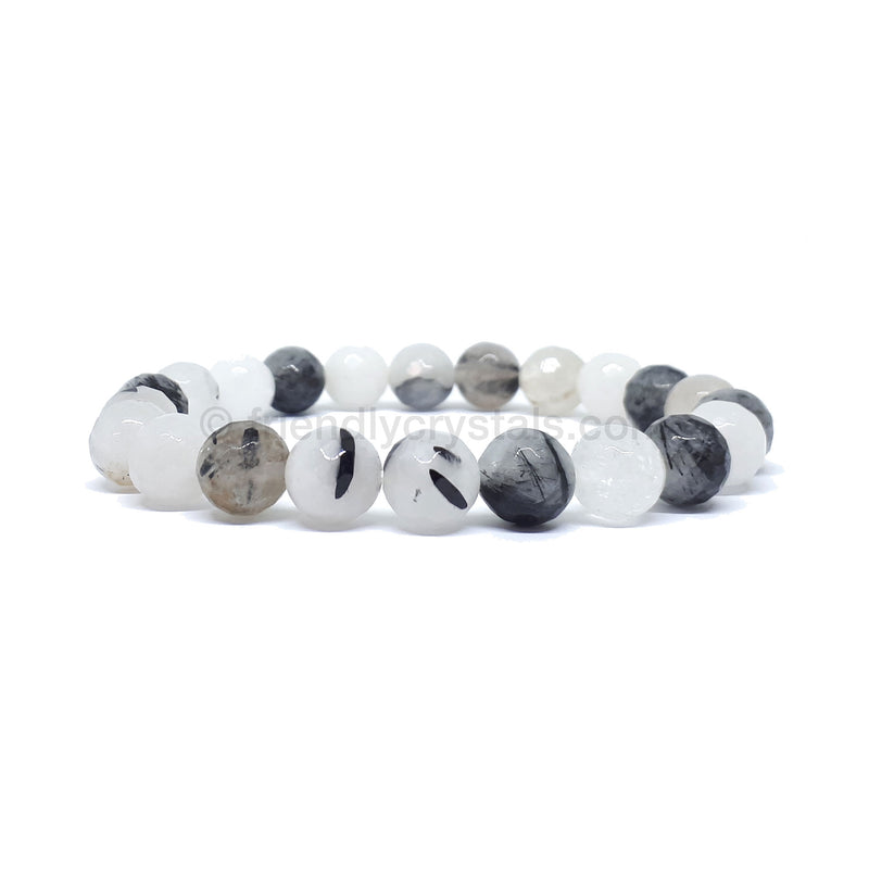 Tourmalinated Quartz Black Faceted Power Bracelet (8mm)