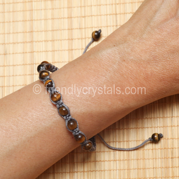 Tiger Eye Shamballa Bracelet - Grey cord (6mm)