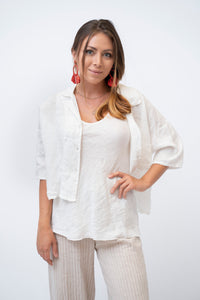 3/4 Sleeve Crop Linen Jacket With Buttons