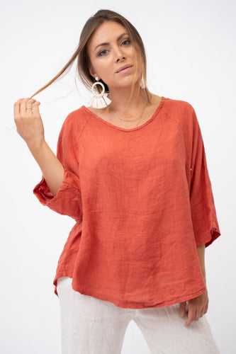 Greta Relaxed Raglan Sleeve Linen Top