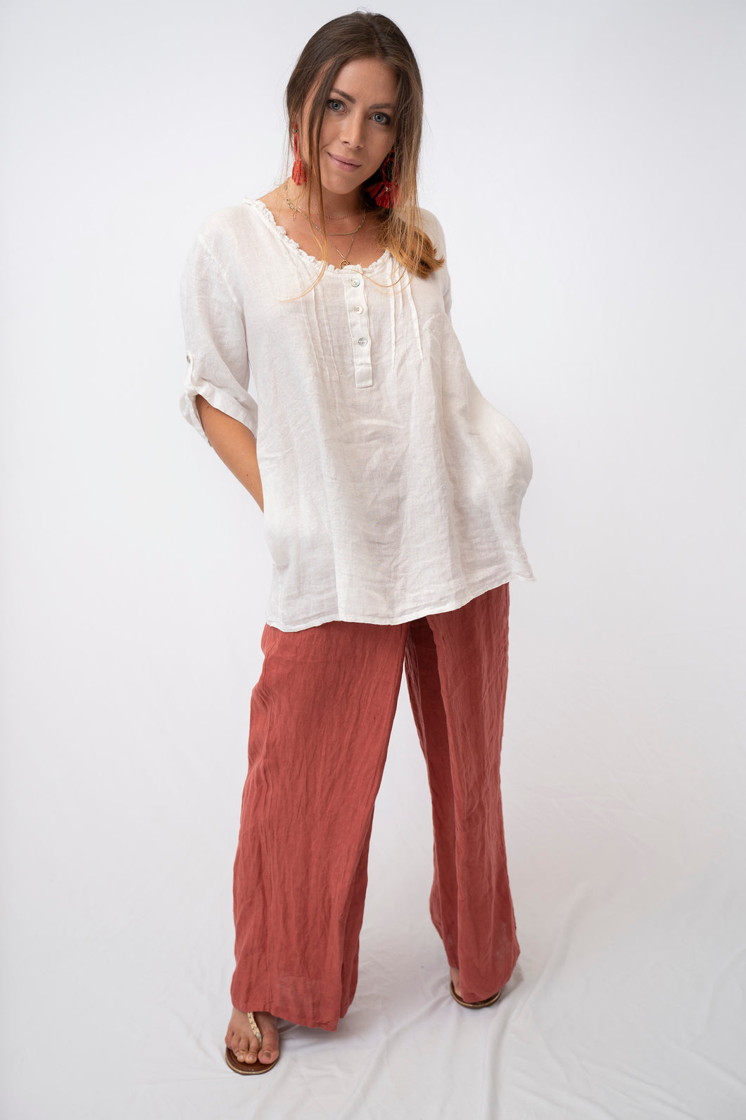 Romantic Linen Top With Pockets.