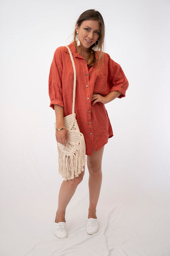 Linen Boyfriend Shirt Dress