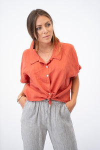 Callisto Short Sleeve Linen Button Up Blouse