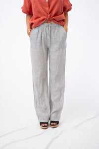 Pinstripe Drawstring Linen Pant With Pockets