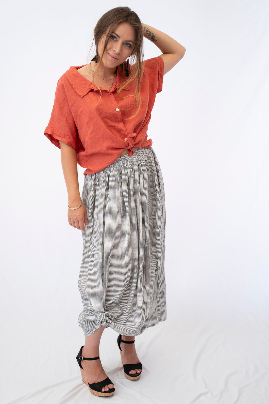 Waistband Stripe Linen Skirt With Side Pockets