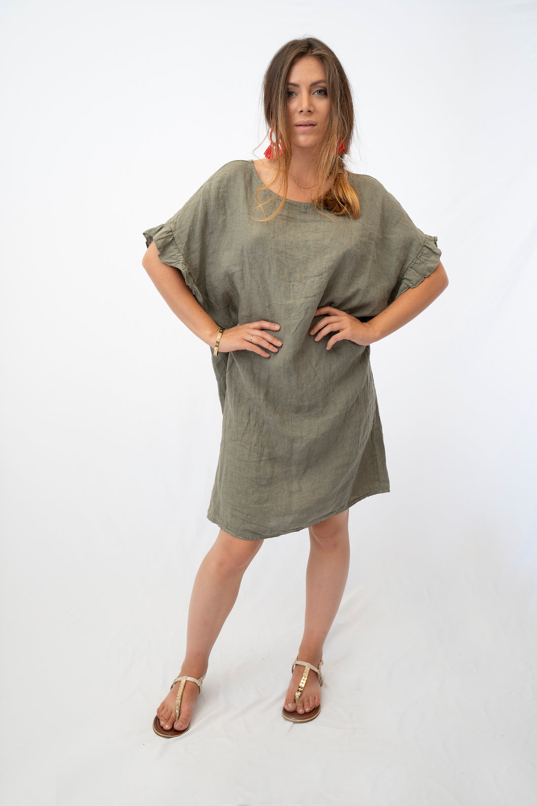Relaxed Linen Tunic Dress With Ruffle Sleeve Detail