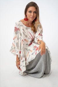 Relaxed Printed Linen Tunic With Ruffle Sleeves and Hem