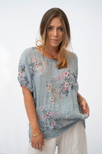 Antonella Easy Breezy Short Sleeve Linen Top