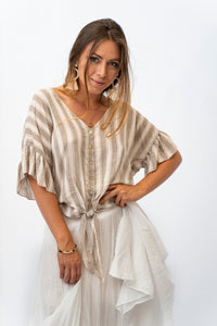 Adorable Button Up Blouse With Tie Front And ruffle Sleeves