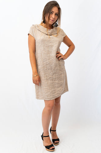 Cowl Neck Linen Dress With Pocks. Embroidery and Sequin Detail Throughout Dress