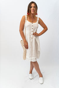 Adorable Linen Dress With Front Button Placket And Pleats