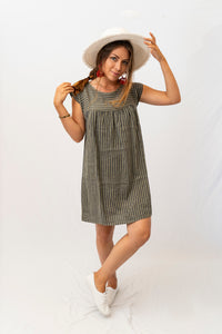 Linen Stripe Shift Dress