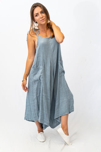 Shoulder Tie Linen Jumpsuit With Pockets