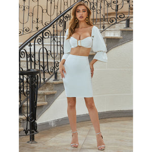 In Neutral -  Crop Top & Midi Skirt Set