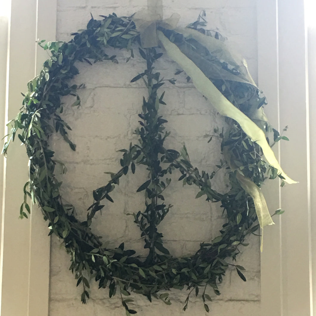fresh olive branch peace wreath