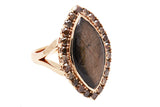 18ct Ring In Rose Gold With Golden Sheen Sapphire & Cognac Diamond Surround