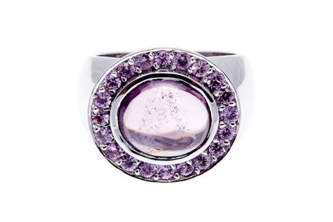 18ct Ring In White Gold With Pink Spinel & Pink Sapphire Surround