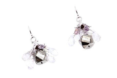 9ct Earrings In White Gold With A Pyrite Bead Centre Also With Spinels & Beryl