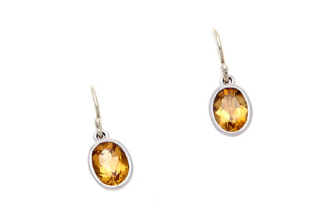 9ct Earrings In White Gold With Citrine On Shepherd Hooks