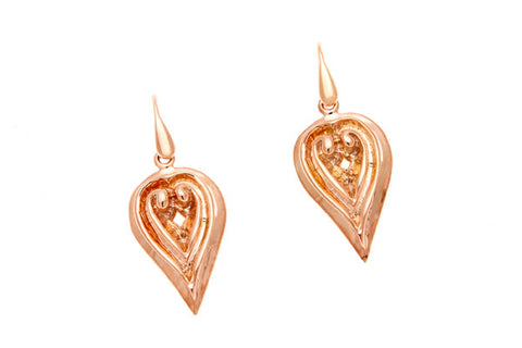 9ct Earrings In Rose GoldWith A Leaf Shape On Shepherd Hooks