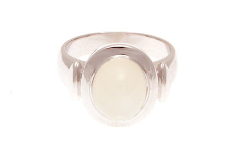 9ct Ring In White Gold With Moonstone