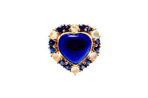 18ct Ring In Yellow Gold With Lapis Lazuli, Blue Moonstones And Sapphires