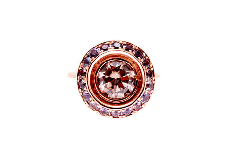 9ct ring in Rose gold With Natural Zircon & Purple Sapphire Surround