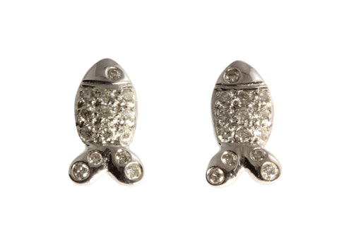 18ct Earrings in White Gold with Fish Studs and Diamonds
