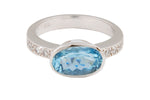 18ct White Gold Oval Aqua & Diamond Engagement Ring